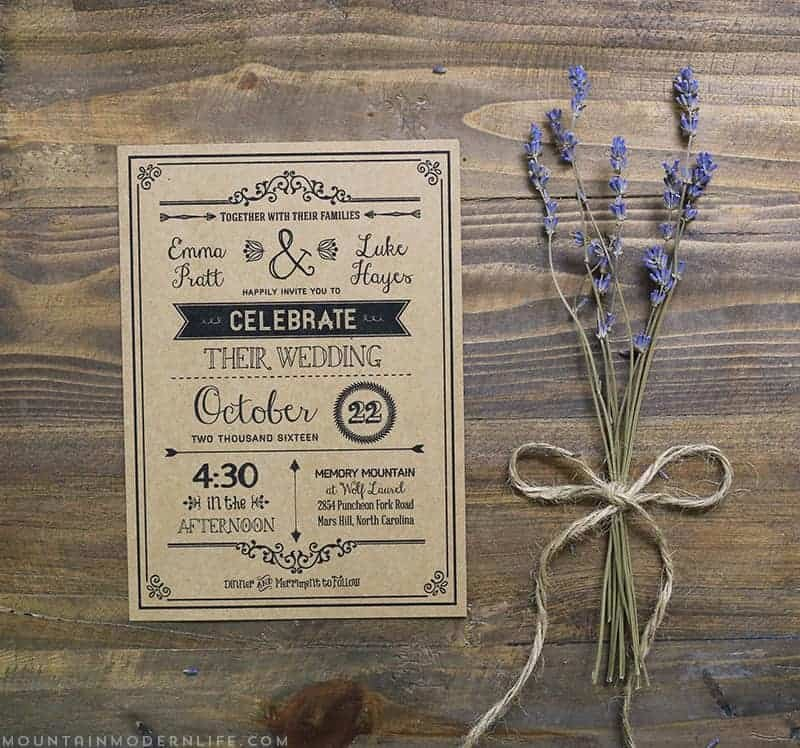 Rustic Wedding Invitations Template Best Of Vintage Rustic Diy Wedding Invitation Template