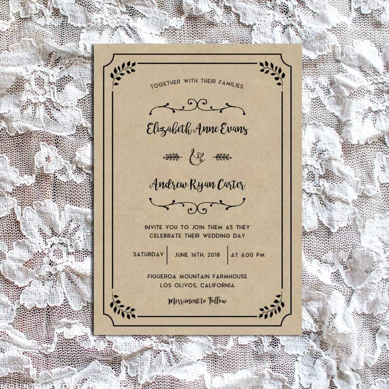 Rustic Wedding Invitations Template Best Of Whimsical Rustic Diy Wedding Invitation Set