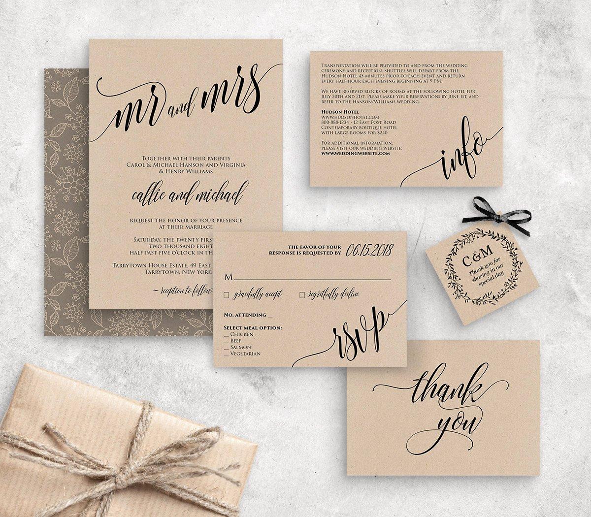 Rustic Wedding Invitations Template Inspirational Wedding Invitation Template Instant Download Rustic Modern