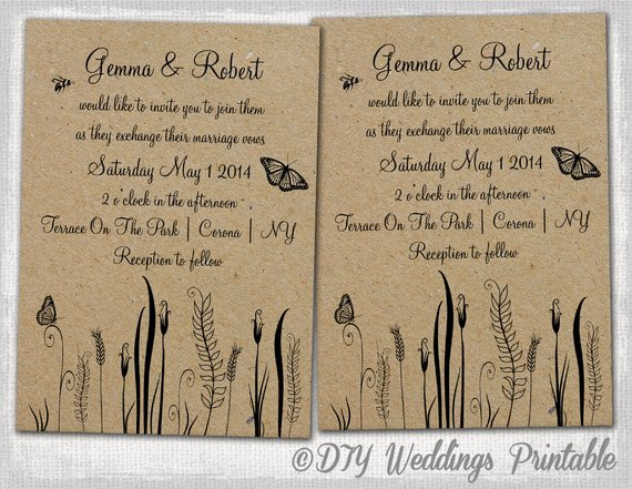 Rustic Wedding Invitations Template Lovely Rustic Wedding Invitations Template Editable butterfly