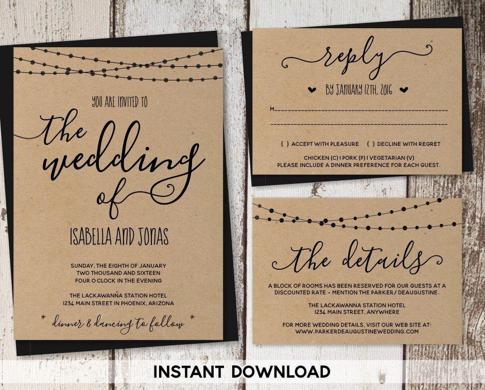 Rustic Wedding Invitations Template Luxury Wedding Invitation Template Rustic Printable Set