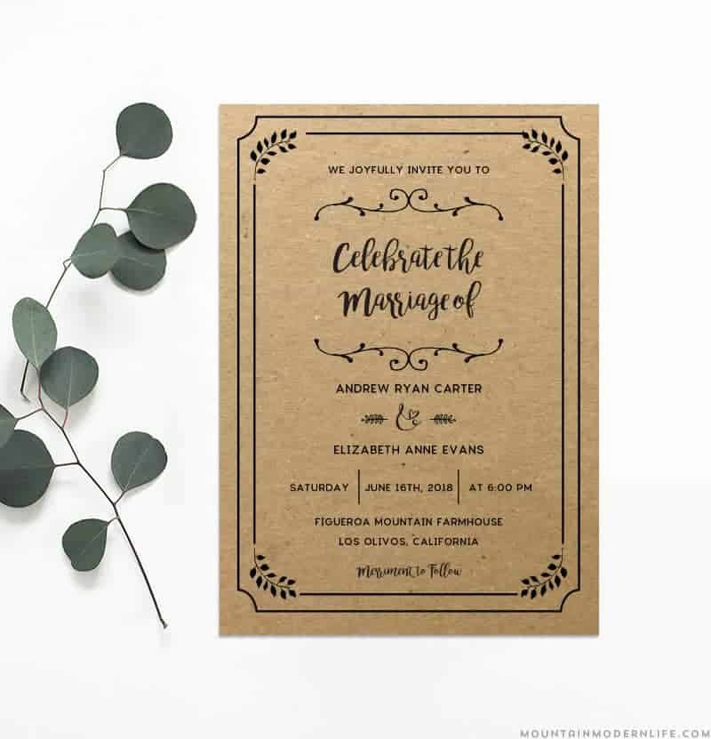 Rustic Wedding Invitations Template New Printable Diy Wedding Invitation Template