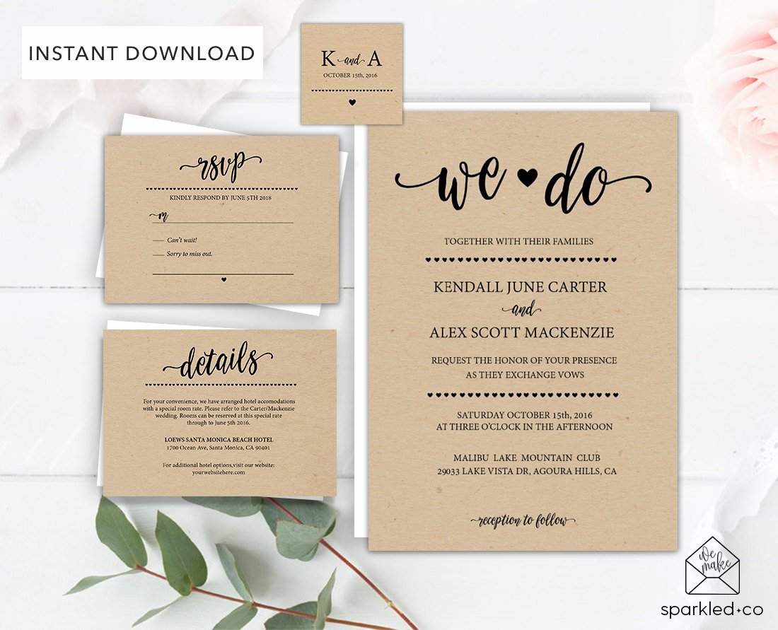 Rustic Wedding Invitations Template New Rustic Wedding Invitation Template Wedding by Sparkledco