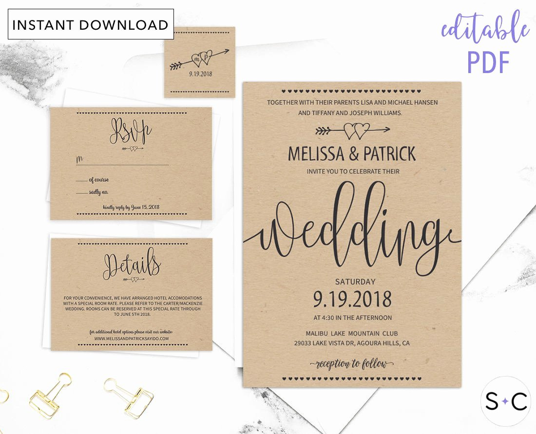 Rustic Wedding Invitations Template Unique Rustic Wedding Invitation Template Barn Wedding