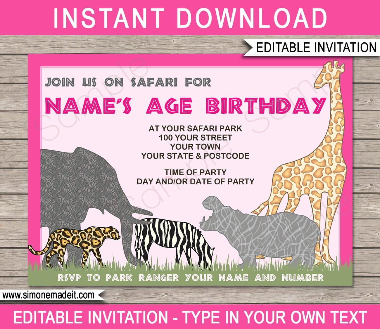 Safari Invitation Template Free Awesome Safari or Zoo Party Invitations Template