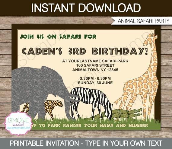 Safari Invitation Template Free Beautiful Safari Invitation Template Zoo Birthday Party Instant