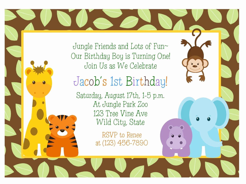 Safari Invitation Template Free Elegant Birthday Invitations Jungle themed 1st Birthday