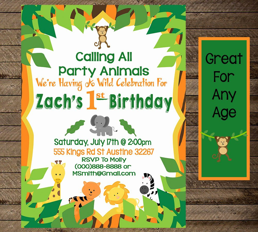 jungle invite jungle birthday invitation