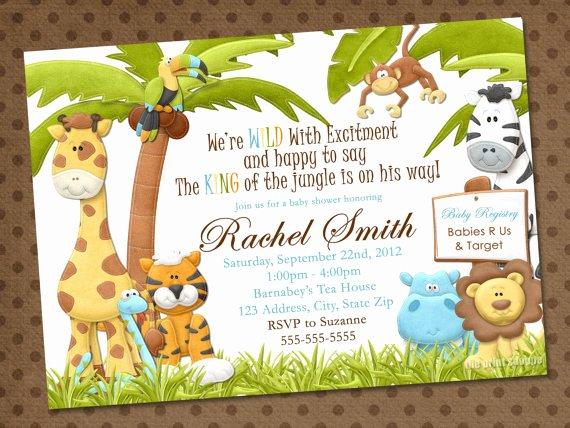 Safari Invitation Template Free Fresh Safari Baby Shower Invitations Template