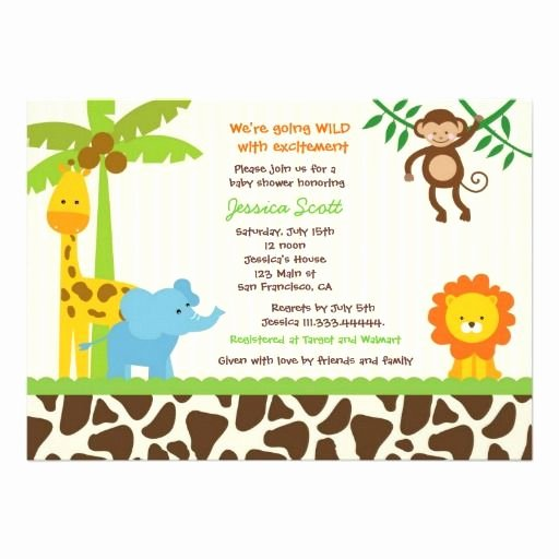 Safari Invitation Template Free Lovely Safari Jungle Zoo Baby Shower Invitations