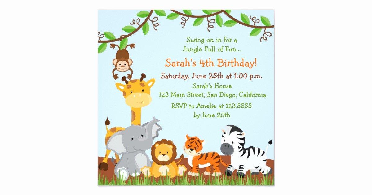 Safari Invitation Template Free Luxury Cute Safari Jungle Birthday Party Invitations