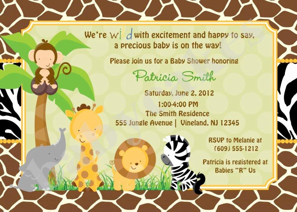 Safari Invitation Template Free Luxury Safari Jungle Animals Baby Shower Invitation Zoo Animals