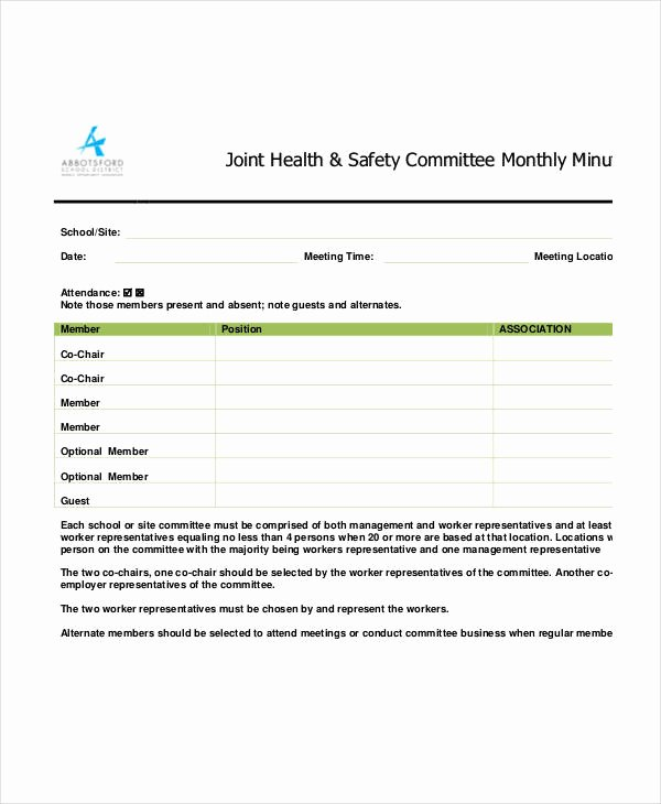 Safety Meeting Minutes Template Beautiful Safety Meeting Minutes Template 12 Free Sample Example