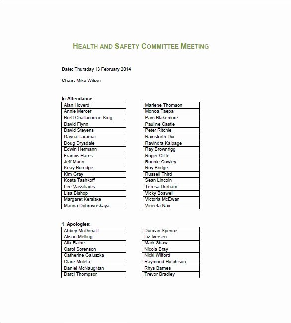 Safety Meeting Minutes Template Beautiful Team Meeting Minutes Templates 9 Free Sample Example