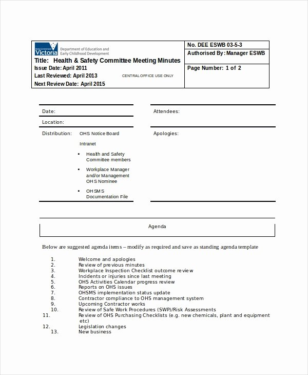 Safety Meeting Minutes Template Best Of Safety Meeting Minutes Template 7 Free Word Pdf