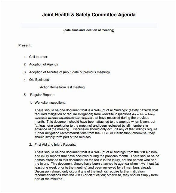 Safety Meeting Minutes Template Elegant 50 Meeting Agenda Templates Pdf Doc