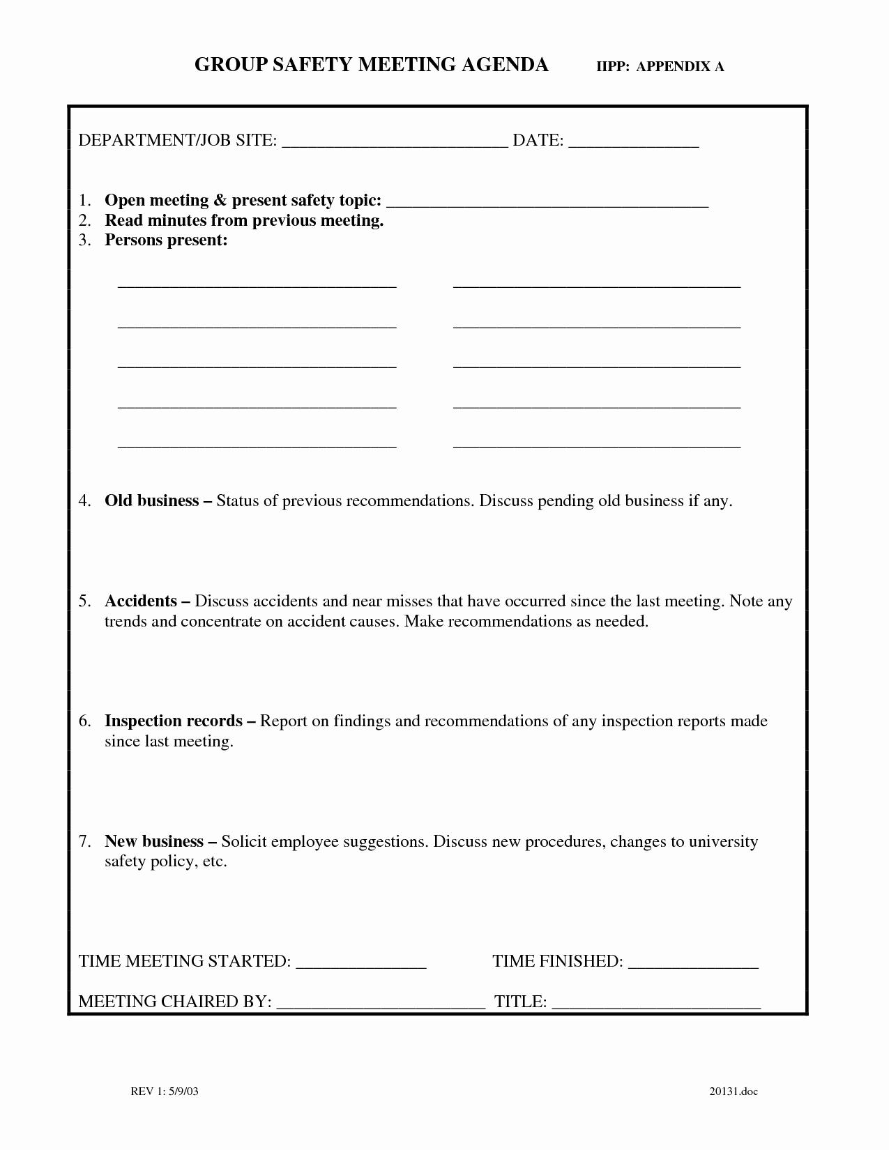 Safety Meeting Minutes Template Elegant Agenda forms Portablegasgrillweber