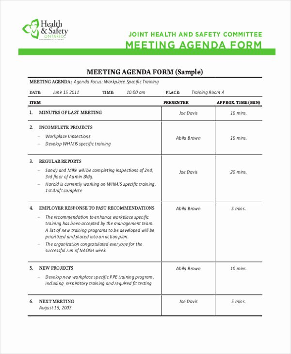 Safety Meeting Minutes Template Elegant Safety Agenda Templates 10 Free Sample Example format