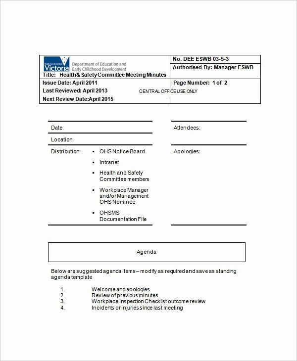 Safety Meeting Minutes Template Fresh 13 Meeting Minute Templates Free Sample Example