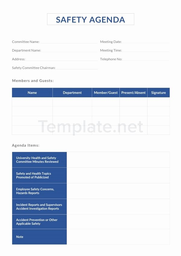 Safety Meeting Minutes Template Lovely 10 Safety Agenda Templates Free Sample Example format