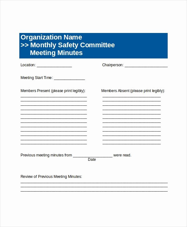 Safety Meeting Minutes Template New Mittee Meeting Agenda Template – 12 Free Word Pdf