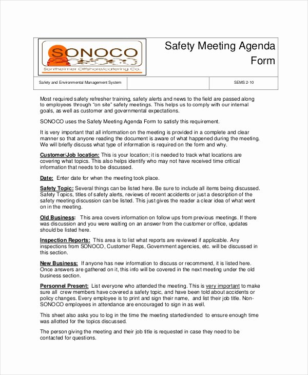 Safety Meeting Minutes Template New Safety Agenda Template 6 Free Word Pdf Documents