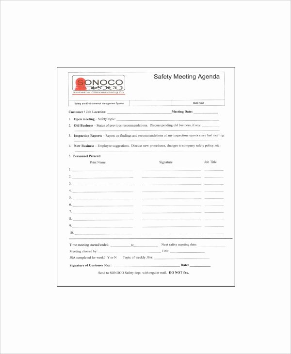 Safety Meeting Minutes Template Unique 12 Safety Meeting Agenda Templates – Free Sample Example