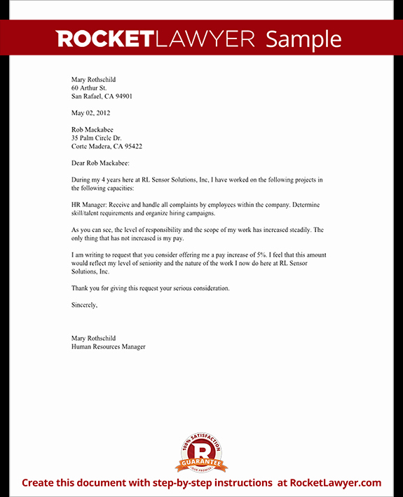 Salary Increase Letter Template Beautiful Salary Increase Letter asking for A Raise