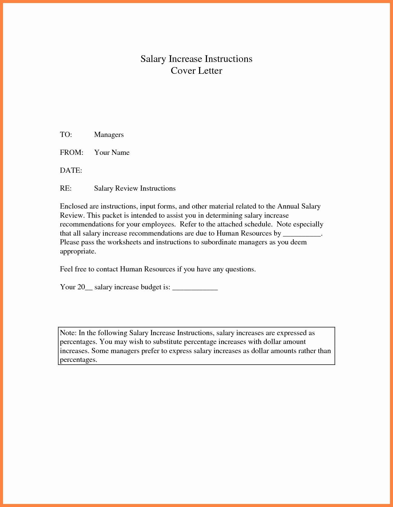 Salary Increase Letter Template Inspirational 7 Salary Review Template