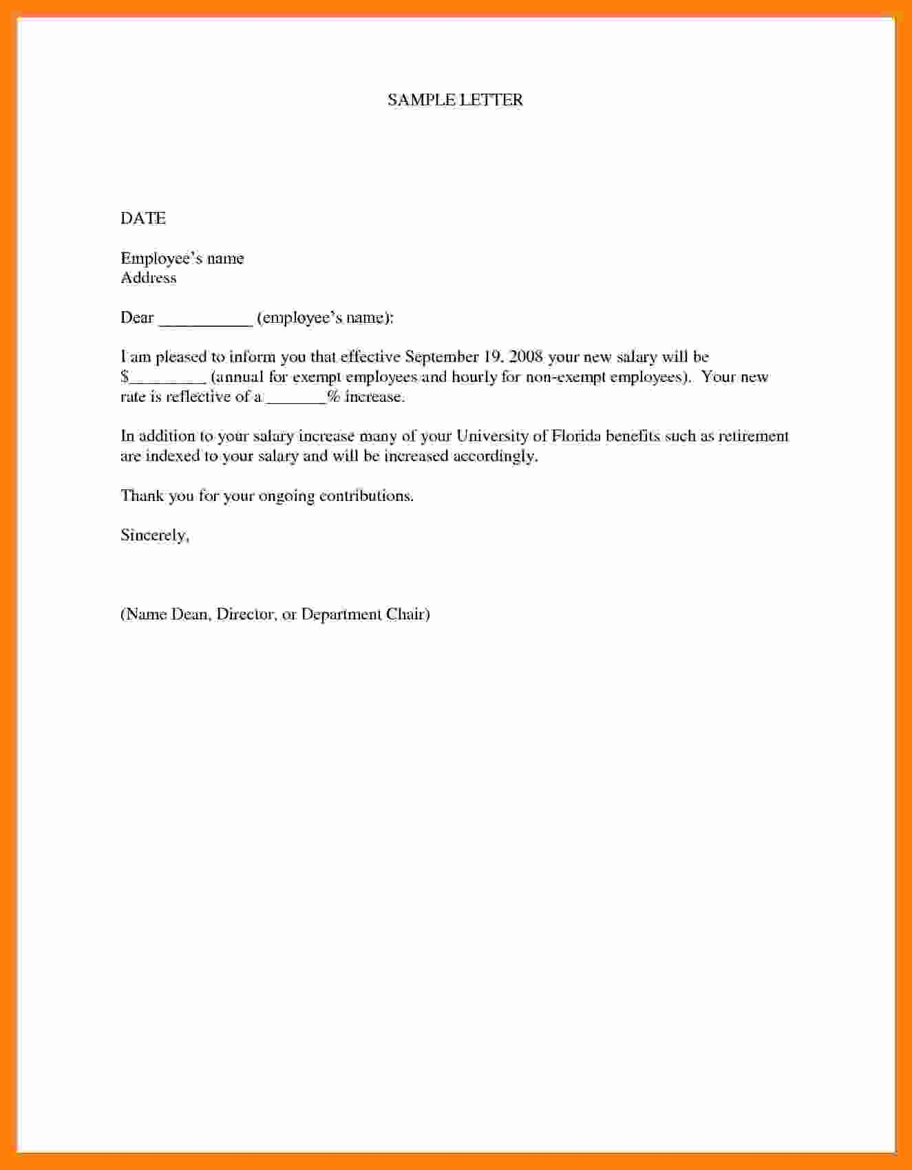 Salary Increase Letter Template Luxury 7 Salary Increase Letter Template From Employer