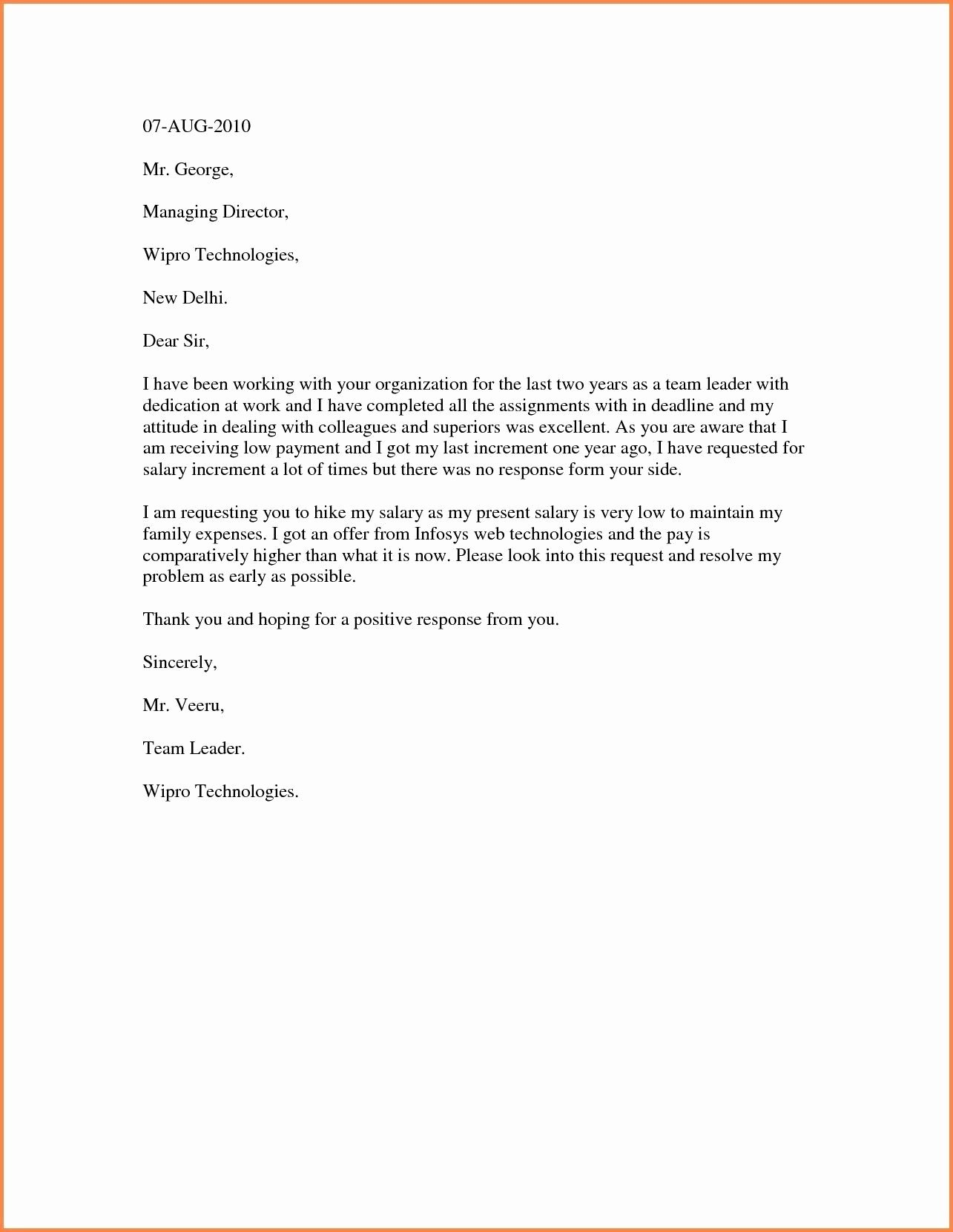 Salary Increase Letter Template Luxury Sample Increment Letter format Fresh Salary Increment