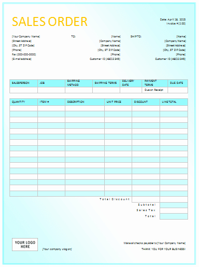 Sale order form Template Beautiful Document Templates Sales order Templates for Excel