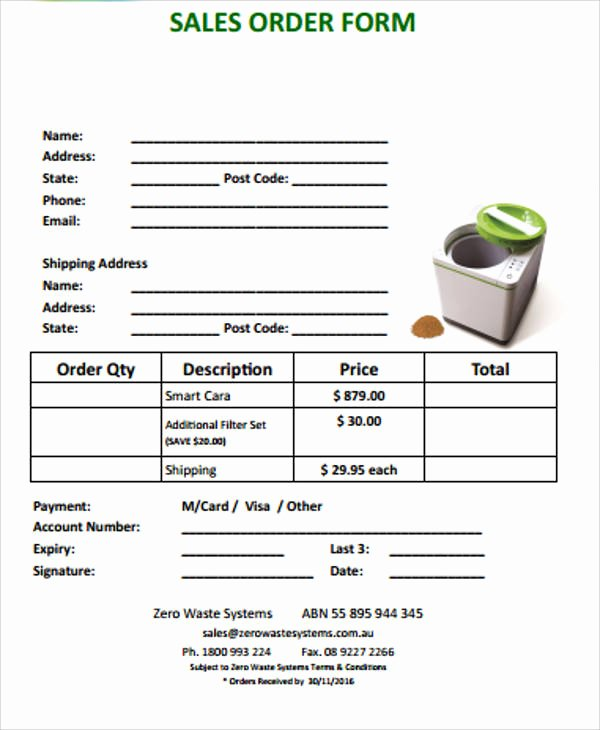 Sale order form Template Luxury 11 Sample Sales order forms