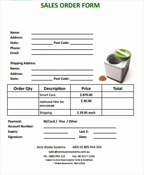 Sale order form Template Luxury 11 Sample Sales order forms