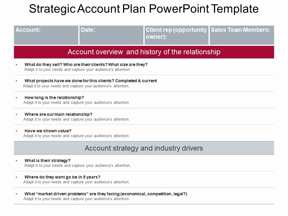 Sales Account Plan Template New Strategic Account Plan Powerpoint Template