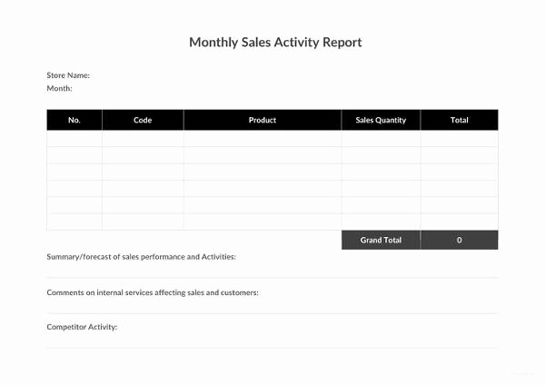 Sales Activity Report Template Best Of 30 Monthly Sales Report Templates Pdf Doc Apple Pages