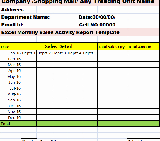 Sales Activity Report Template Fresh Monthly Sales Activity Report Template – Free Report Templates