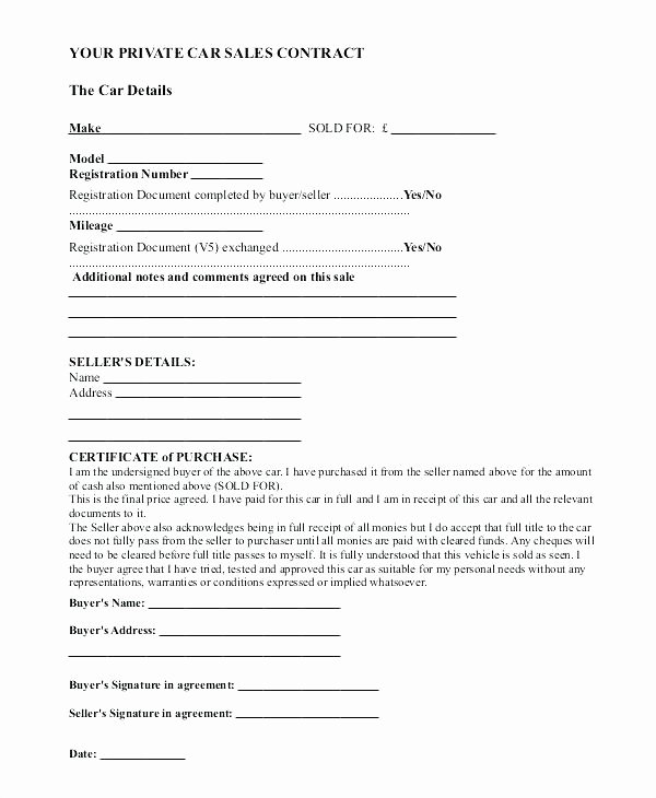 Sales Agreement Template Word Elegant Car Vehicle Sale Agreement format Selling Template A