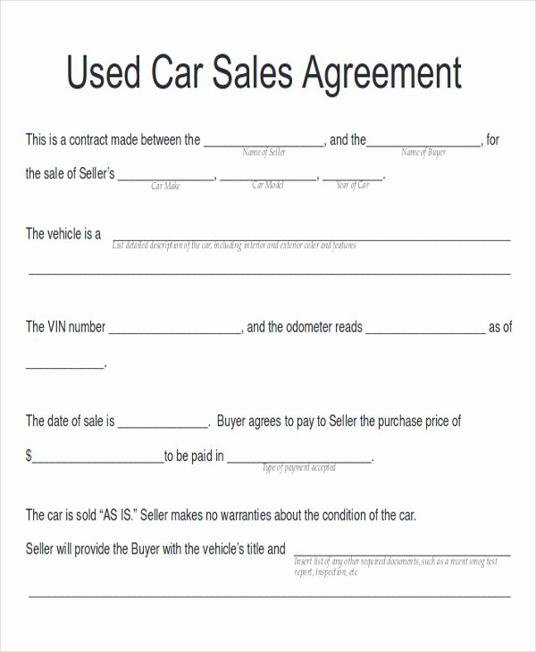 Sales Agreement Template Word Inspirational Sample Car Sales Contract 12 Examples In Word Pdf