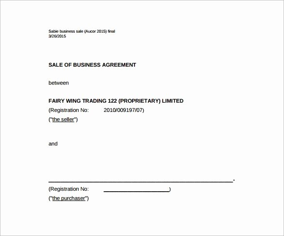 Sales Agreement Template Word New Business Sale Agreement Template Free Download