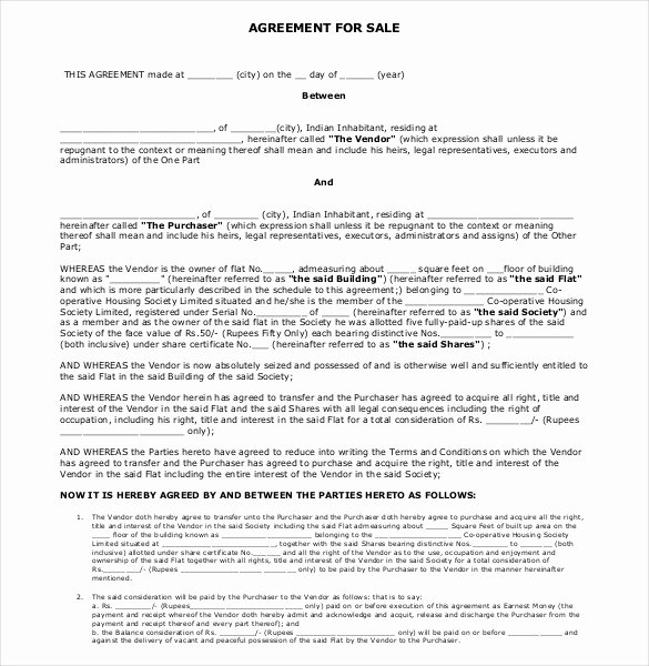 sales agreement