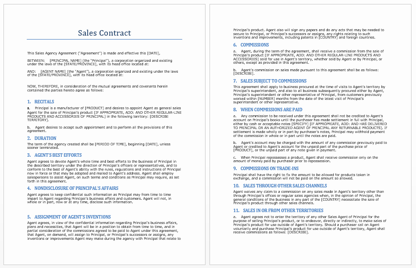 Sales Agreement Template Word New Sales Contract Template Microsoft Word Templates