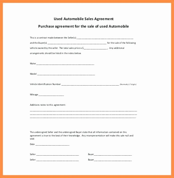 Sales Agreement Template Word Unique Car Sale Agreement Word Vehicle Template Sales Free