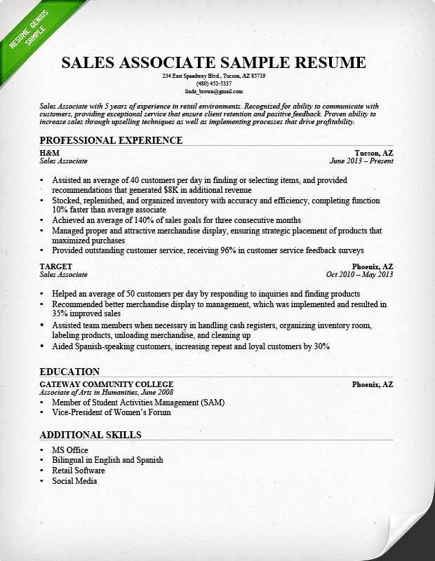 Sales associate Resume Template Elegant Retail Sales associate Resume Sample & Writing Guide