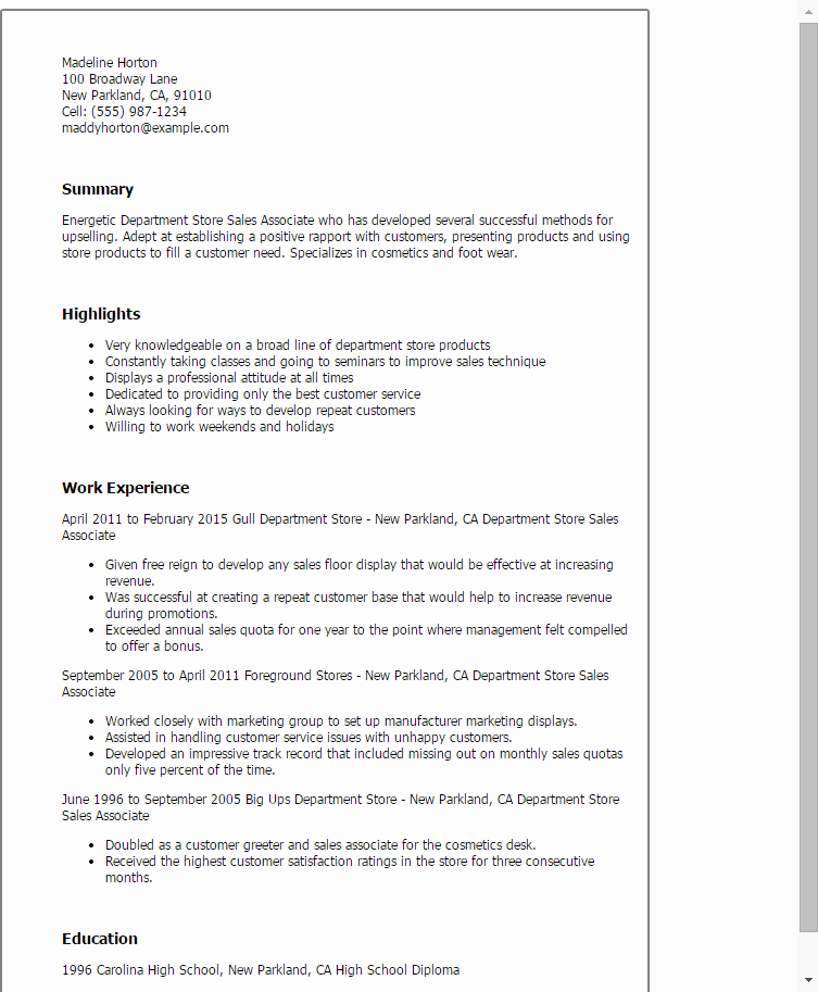 Sales associate Resume Template Inspirational Professional Department Store Sales associate Templates to