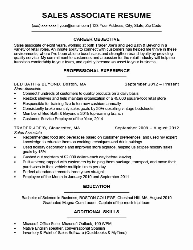 Sales associate Resume Template Inspirational Sales associate Resume Sample & Writing Tips