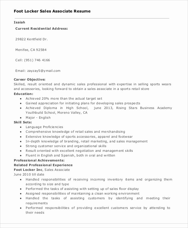 Sales associate Resume Template Lovely 30 Sales Resume Templates Pdf Doc