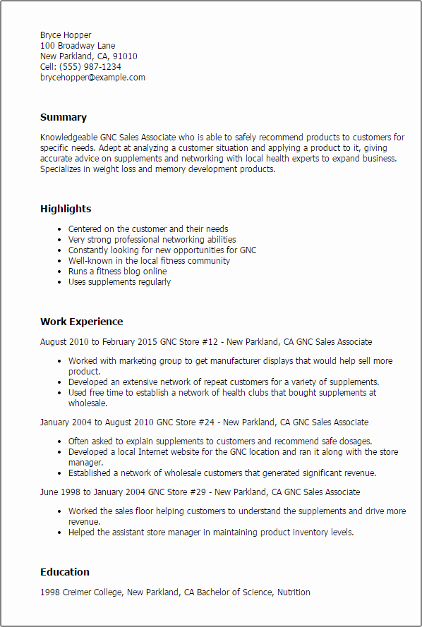 Sales associate Resume Template Lovely Professional Gnc Sales associate Templates to Showcase