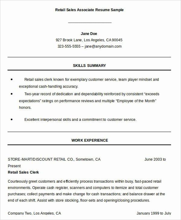 Sales associate Resume Template Luxury Sales associate Resume Template