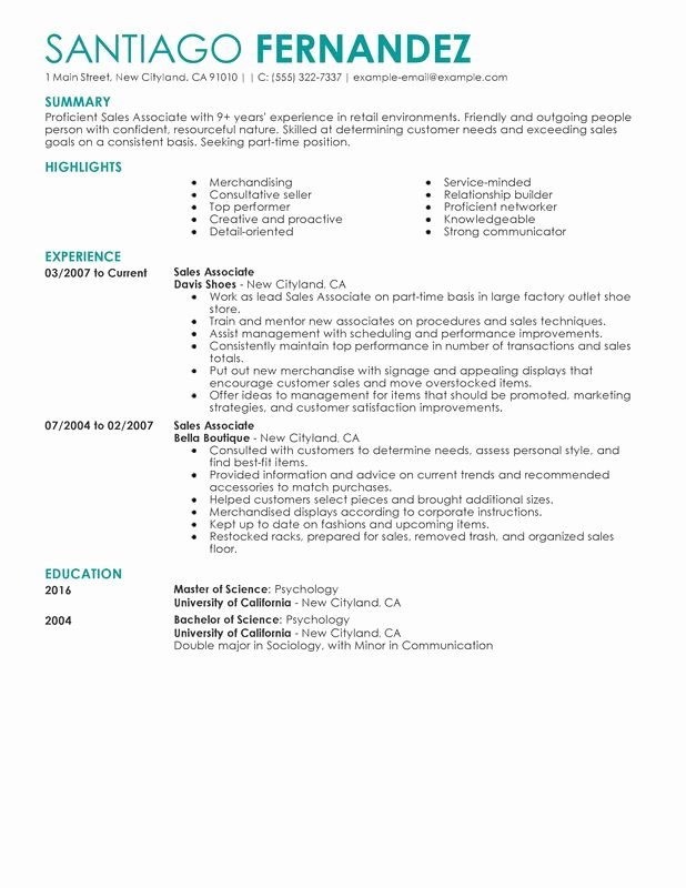 Sales associate Resume Template New Unfor Table Part Time Sales associates Resume Examples